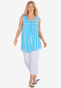 Striped Sleeveless Tunic,