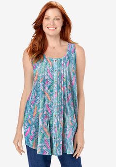 Sleeveless Pintuck Gauze Shirt,