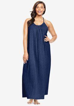 Breezy Eyelet Knit Long Nightgown,