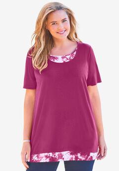 Layered-Look Print Tunic,