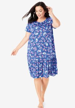 Cool Dreams Peplum Sleep Shirt , TRUE BLUE PAISLEY