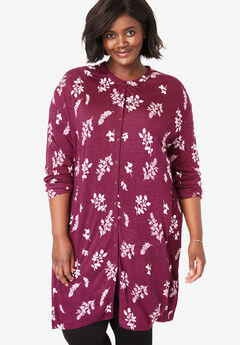 Mandarin Collar Button-Front Maxi Tunic, DEEP CRANBERRY SPACED LEAVES