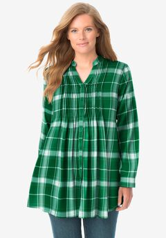 Pintucked Flannel Shirt, EMERALD LOVELY PLAID