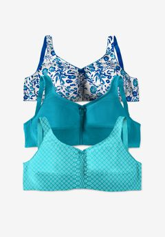 3-Pack Cotton Wireless Bra , TURQUOISE ASSORTED
