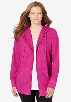 Waffle-Knit Fleece Thermal Jacket,