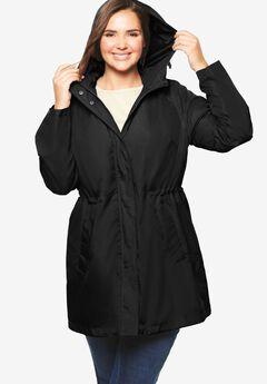 Packable Anorak Raincoat, BLACK