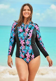 Zip-Front Colorblock Swimsuit ,