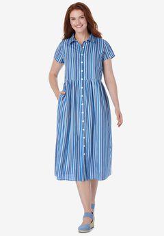 Striped Short-Sleeve Dress,