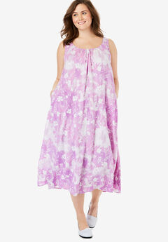 A-Line Sleeveless Crinkle Dress, PURPLE DELICATE FLORAL