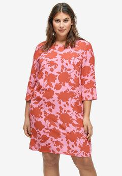 Slit-Sleeve Shift Dress, LIGHT PINK FLORAL