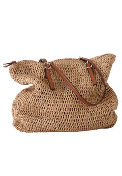 Zip Top Straw Bag,