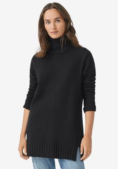 Ribbed Turtleneck Tunic Sweater,