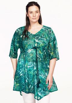 Sheer print tunic,