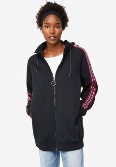 Side-Stripe Zip-Front Hoodie,