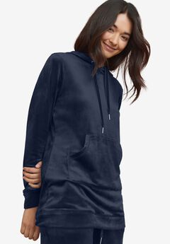 Hooded Velour Lounge Tunic,