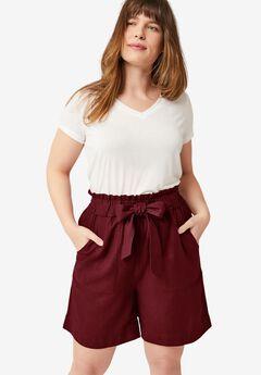 Belted Linen Shorts,