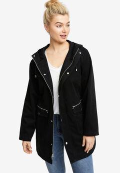 Multi-Pocket Hooded Twill Jacket,
