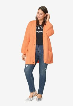 Soft Relaxed Button-Front Cardigan,