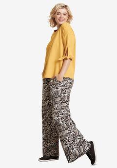 Wide-Leg Soft Pants with Back Elastic, REPTILE PRINT