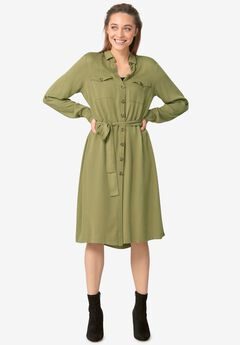 Button-Front Soft Shirtdress,