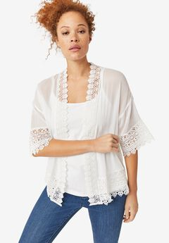 Sheer Lace Trim Kimono Cardigan,