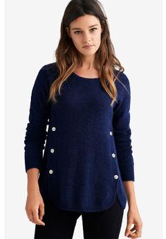 Button Trim Pullover Sweater,