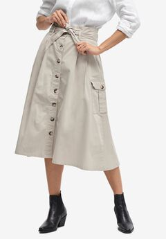 Button-Front Chino Skirt,