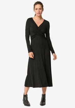 Draped Bodice Knit Midi Dress,