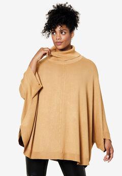 Turtleneck Poncho Sweater,