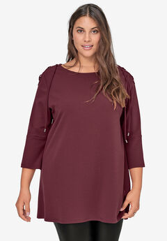 Lace-Up Shoulder Tunic, DEEP WINE