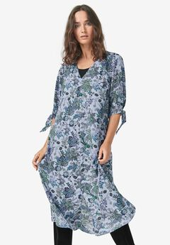 Tie-Sleeve Midi Dress,