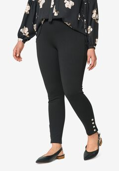 Snap-Hem Ponte Leggings,