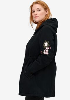 Embroidered Twill Anorak Jacket,