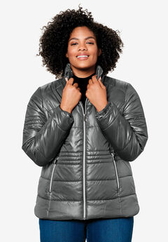 Short Puffer Zip Front Jacket,