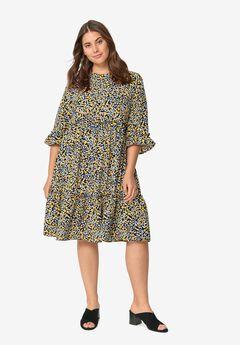 Ruffle-Trim Tiered Dress,