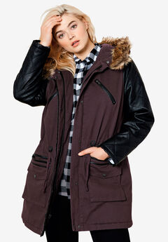Quilted Faux Leather Sleeve Parka,