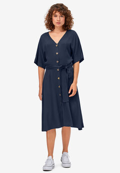 Button-Front Tie-Waist Shirtdress,