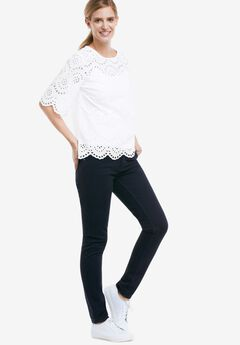 Scalloped Hem Eyelet Blouse,