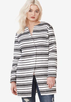 Mari Jacquard Striped Coat,