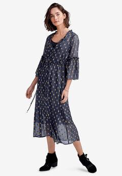 Ruffle-Sleeve Sheer Midi Dress,