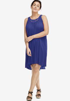Lace Inset Trapeze Dress,