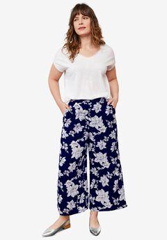 Wide-Leg Crop Pants,