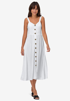 Button-Front A-Line Dress,