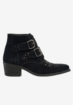 Two Buckle Suede Bootie,
