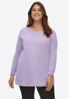 Lace-Trim V-Neck Sweatshirt,