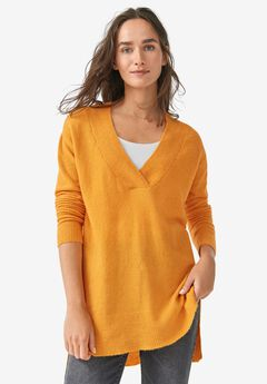 Hi-Lo V-Neck Pullover,