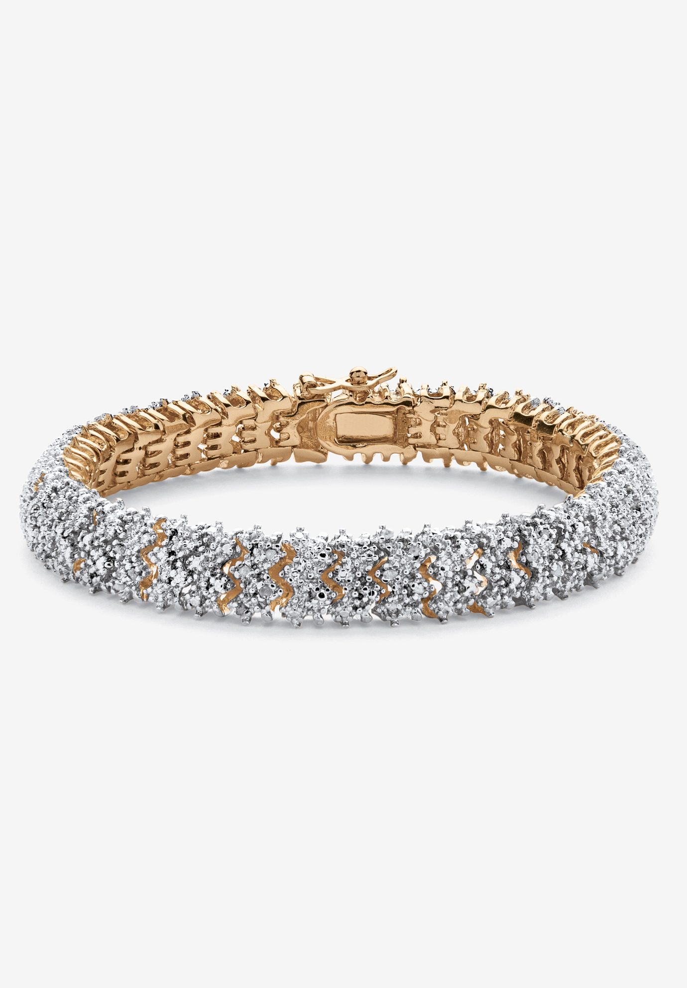 Yellow Gold Plated Round Genuine Diamond Tennis Bracelet (7/8 cttw) (IJ Color, I2-I3 Clarity), GOLD