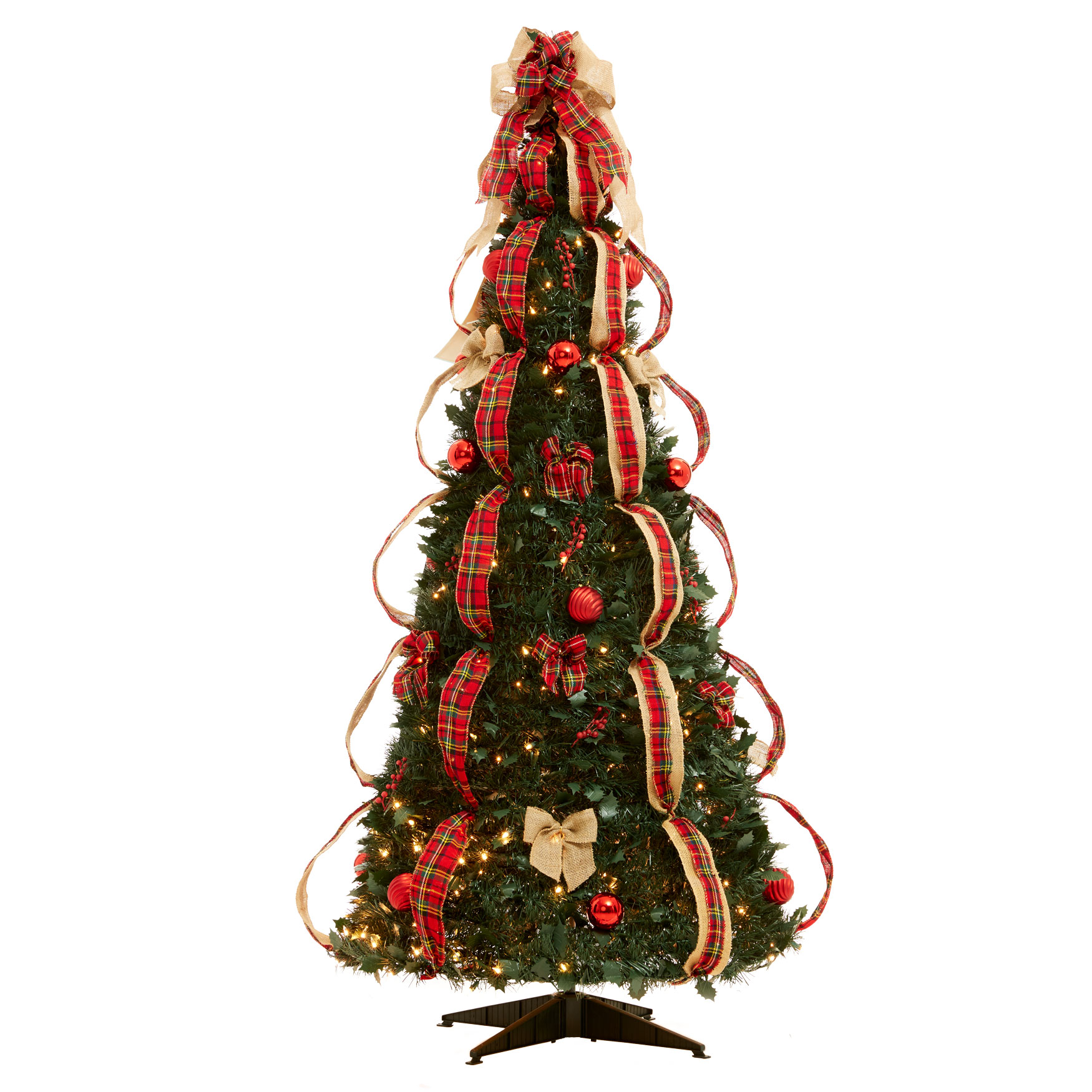 Fully Decorated Pre-Lit 6-Ft. Pop-Up Christmas Tree, PLAID