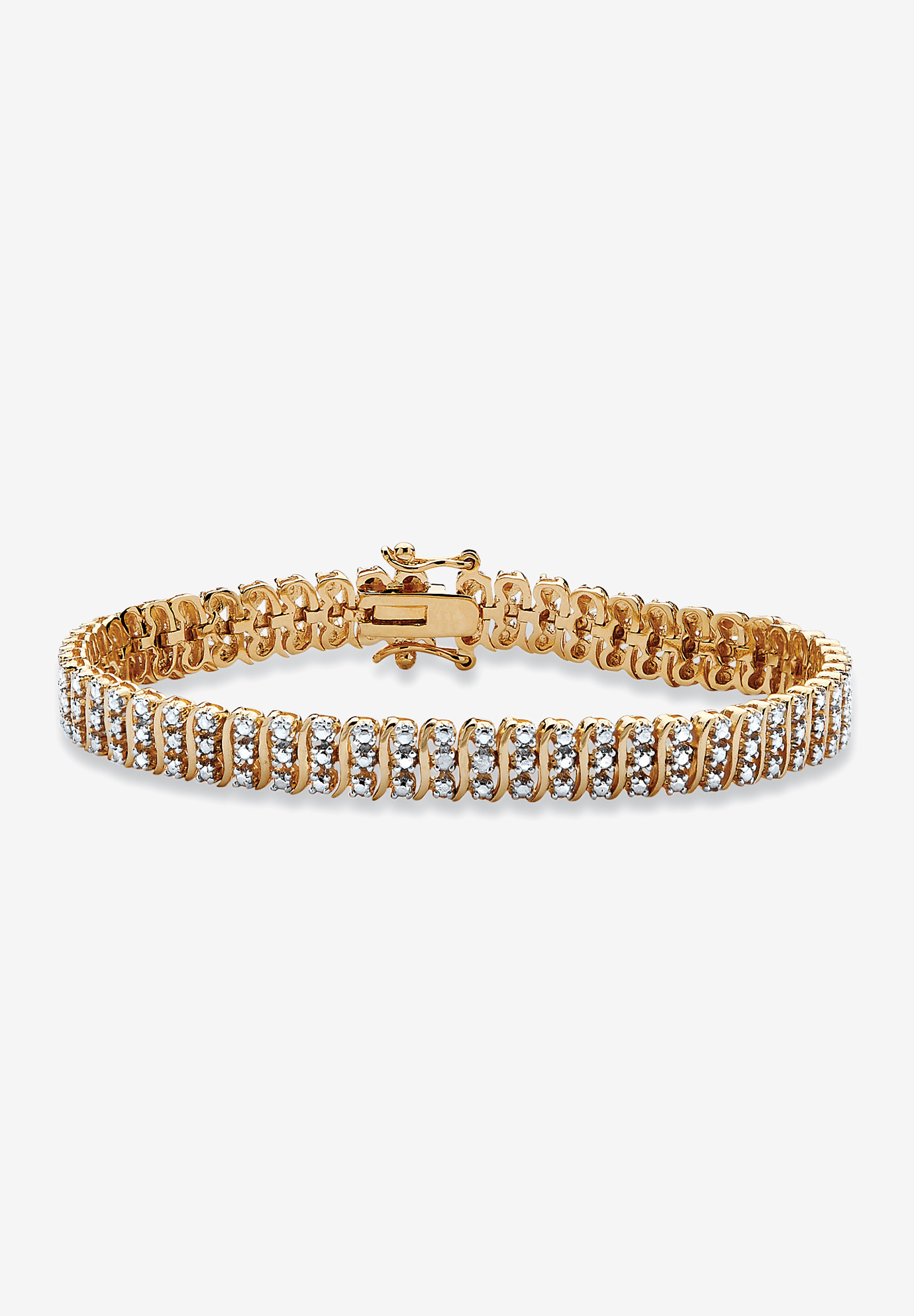 "Yellow Gold Plated S Link Tennis Bracelet (7.5mm), Genuine Diamond Accent 8"", DIAMOND"