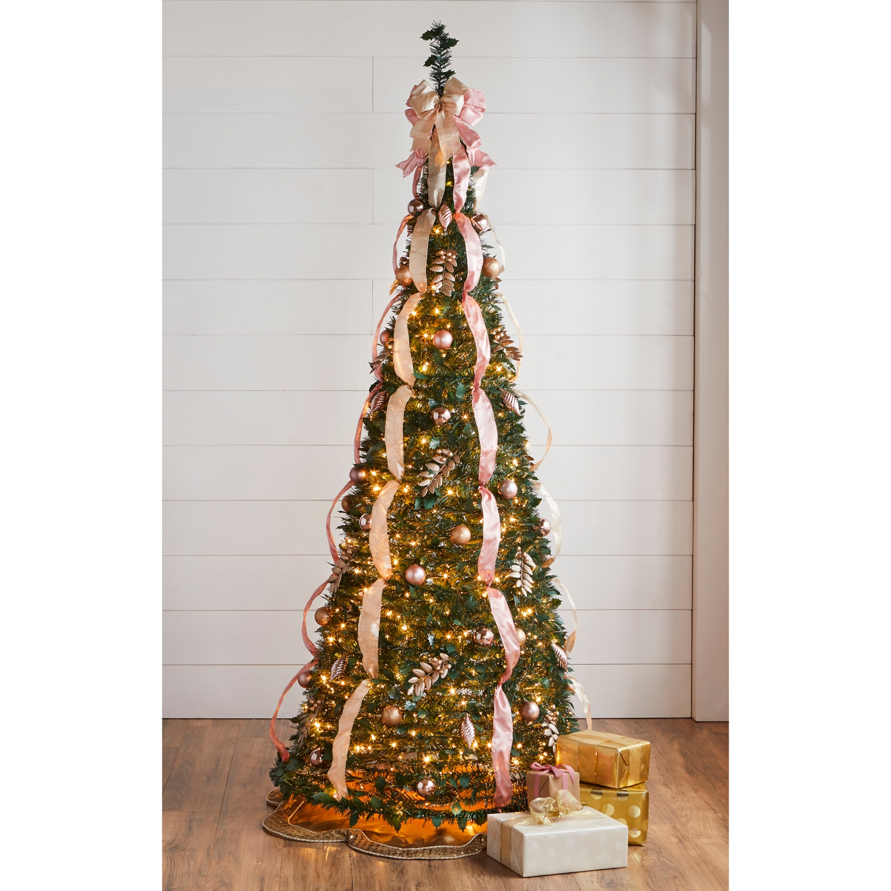 Fully Decorated Pre-Lit 7½' Pop-Up Christmas Tree, PINK